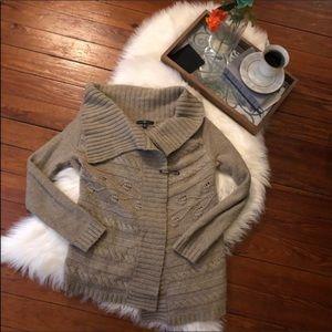 Gap tan cable knit wide Collar cardigan sweater Xs